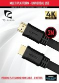 Piranha Flat Gaming HDMI Cable, 3 m, High Speed with Ethernet, 4K Ultra HD