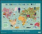 Die großen Flüsse der Welt 2022 - Landkarten-Kalender für Kinder und Erwachsene - Wandkalender 52 x 42,5 cm - Spiralbindung