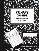 Primary Story Book: Dotted Midline and Picture Space - Black Marble Design- Grades K-2 School Exercise Book - Draw and Write Note book 100