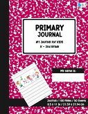 Primary Story Journal: Dotted Midline and Picture Space - Red Marble Design- Grades K-2 School Exercise Book - Draw and Write 100 Story Pages