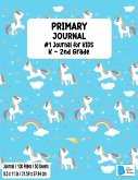 Primary Story Book: Dotted Midline and Picture Space Stylish Unicorn Baby Blue Cover Grades K-2 School Exercise Book Draw and Write 100 St