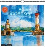 Bodensee Aquarell 2022. Postkarten-Tischkalender