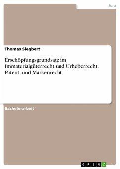 Erschöpfungsgrundsatz im Immaterialgüterrecht und Urheberrecht. Patent- und Markenrecht (eBook, PDF) - Siegbert, Thomas