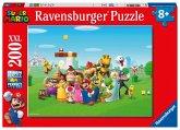 Ravensburger Kinderpuzzle 12993 - Super Mario Abenteuer 200 Teile XXL - Puzzle für Kinder ab 8 Jahren