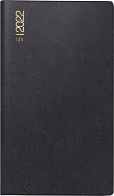 rido/idé 7040302902 Monatskalender/Taschenkalender 2022 Modell TM 12, Kunststoff-Einband, schwarz