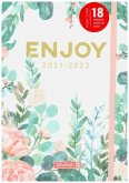 """BRUNNEN 1072130142 Schülerkalender 2021/2022 (18 Monate) """"Enjoy"""", A5, Hardcover-Einband mit Textilüberzug"""