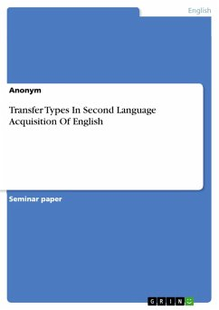 Transfer Types In Second Language Acquisition Of English (eBook, PDF)