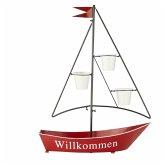 Pflanztopf Segelboot Rot/Schwarz