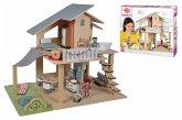Eichhorn 100002505 - Puppenhaus mit 4 Zimmer, 3 Figuren, 25tlg.
