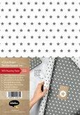Geschenkpapier-Set für Sterne (grau / weiß)