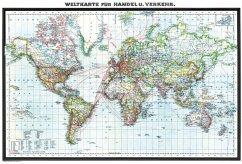 Hist. WELTKARTE - Handel und Verkehr - Oktober 1941 [gerollt]