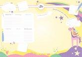 Schreibtischunterlage Kinder aus Papier in Gelb / Rosa mit Einhorn Motiv   50 Blatt zum Abreißen in DIN A2