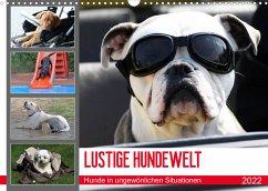 LUSTIGE HUNDEWELT Hunde in ungewönlichen Situationen (Wandkalender 2022 DIN A3 quer)