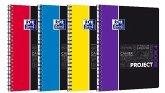OXFORD Studium A4+ Polypropylen doppelspiralgebundenes Projectbook, 5 mm kariert, 100 Blatt, SCRIBZEE® kompatibel, 1 Stück sortiert