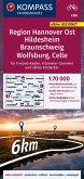 KOMPASS Fahrradkarte Region Hannover Ost, Hildesheim, Braunschweig, Wolfsburg, Celle 3365