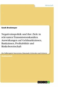 Negativzinspolitik und ihre Ziele in relevanten Transmissionskanälen. Auswirkungen auf Geldmarktzinsen, Bankzinsen, Profitabilität und Risikobereitschaft