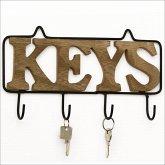 Wanddekoration Keys aus Metall und Holz mit 4 Haken ideal als Schlüsselboard