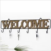Wanddekoration Welcome aus Metall und Holz mit 6 Haken