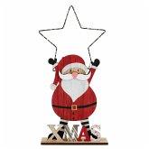 LED-Deko-Figur Santa mit Stern Rot/Schwarz/Weiß