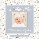 Babyalbum mit Fensterausschnitt für das 1. Lebensjahr zum Eintragen der schönsten Momente und Erinnerungen mit Platz für Fotos   genderneutral für Jungen und Mädchen