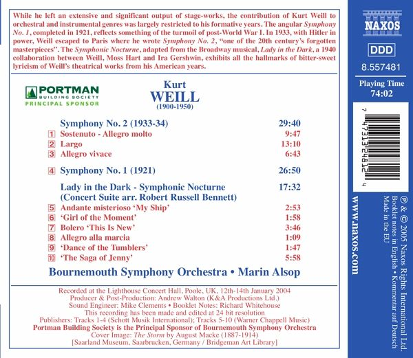 Kurt Weill , Bournemouth Symphony Orchestra • Marin Alsop - Symphonies Nos. 1 And 2