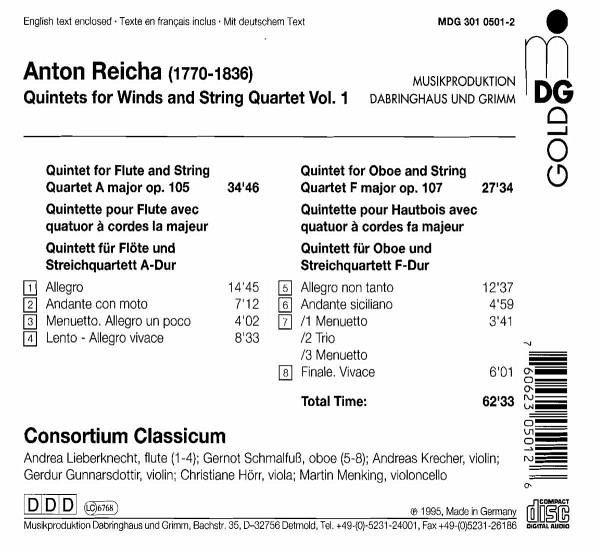 Anton Reicha - Consortium Classicum Quintets For Winds And String Quartet Vol.2