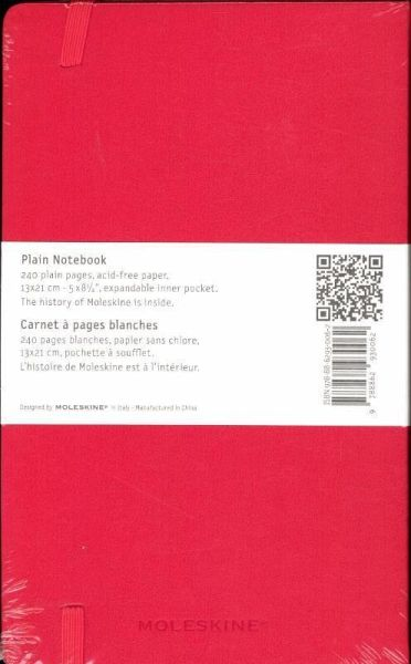 moleskine notizbuch blanko large din a5 rot buch b. Black Bedroom Furniture Sets. Home Design Ideas