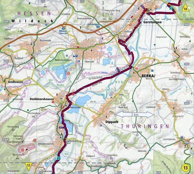 Werratal Radweg Karte.Werratal Radweg Werraquellen Hann Münden