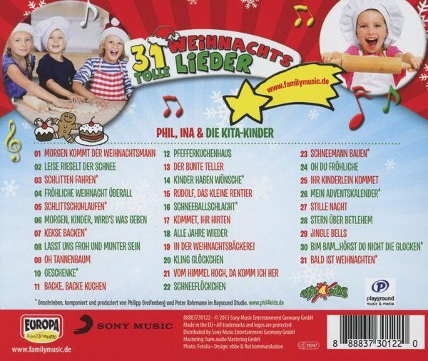 31 tolle weihnachtslieder 1 audio cd von ina phil. Black Bedroom Furniture Sets. Home Design Ideas