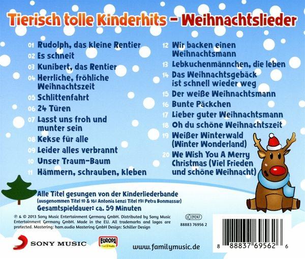 tierisch tolle kinderhits weihnachtslieder 1 audio cd. Black Bedroom Furniture Sets. Home Design Ideas
