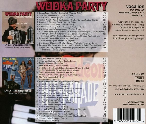 wodka party accordeon hitparade von will glahe cd. Black Bedroom Furniture Sets. Home Design Ideas