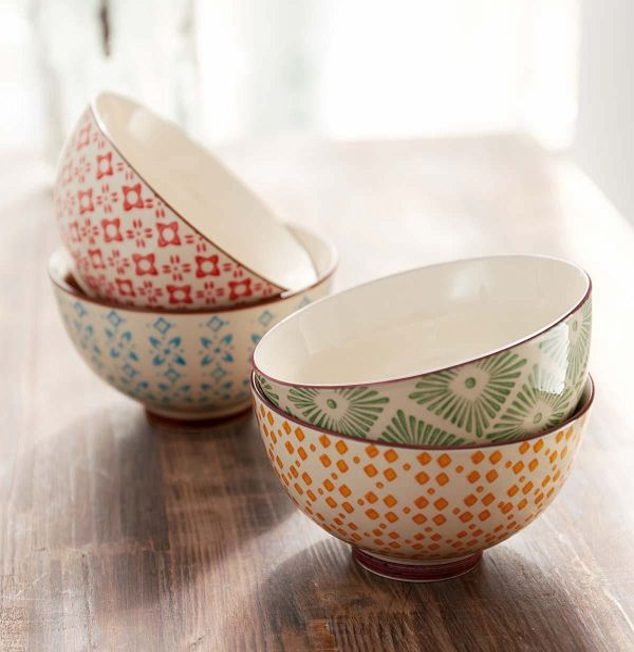 Miavilla Keramik Schalen Set 4 Tlg Retro Bunt Portofrei Bei