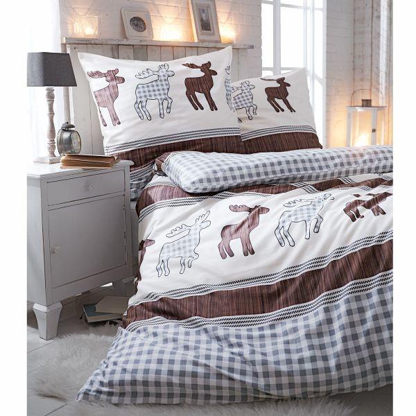 bettw sche elch fred beige braun 155 x 220 cm. Black Bedroom Furniture Sets. Home Design Ideas