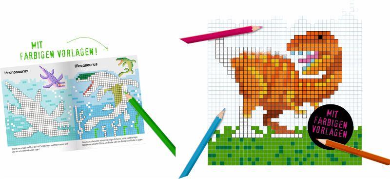 Pixel-Malbuch - Dinosaurier von Oakley Graham - Buch - bücher.de