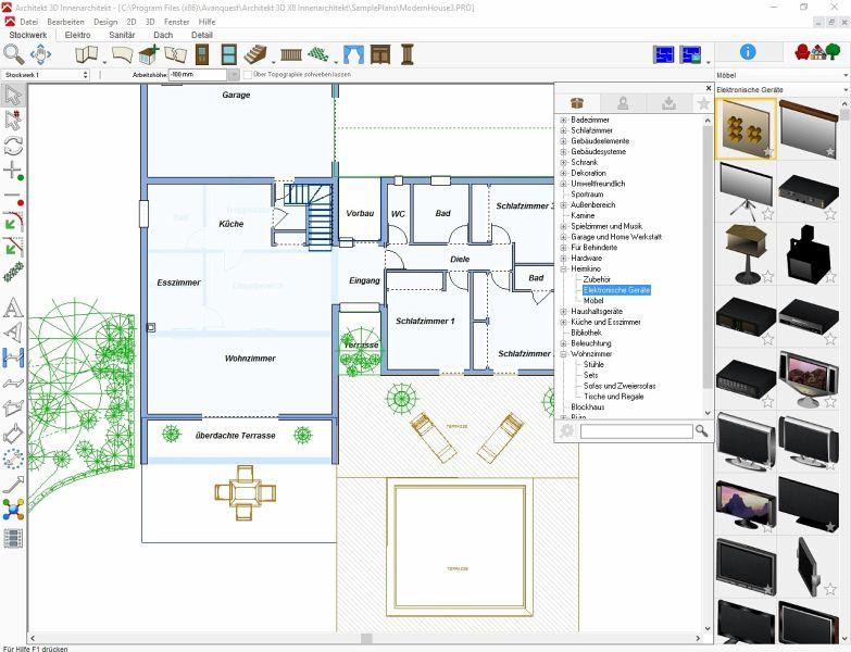 architekt 3d x8 innenarchitekt download f r windows. Black Bedroom Furniture Sets. Home Design Ideas