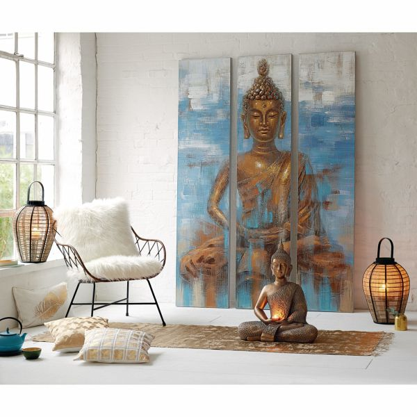miavilla bilder set 3 tlg buddha blau goldfarben. Black Bedroom Furniture Sets. Home Design Ideas