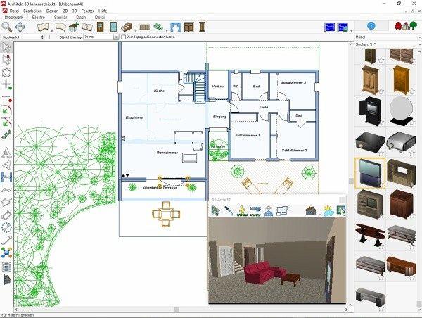 architekt 3d x9 innenarchitekt software b. Black Bedroom Furniture Sets. Home Design Ideas