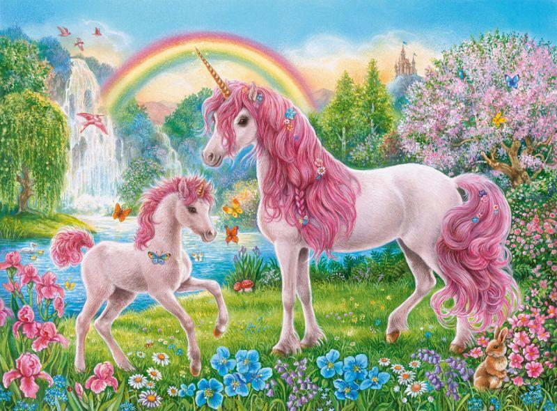 Картинки единорог с радугой и на поляне