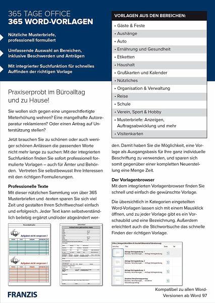 Franzis 365 Tage Office 365 Word Vorlagen Software Portofrei Bei