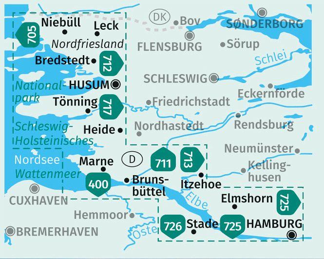 Dänemark Nordseeküste Karte.Kompass Karte Nordseeküste Von Hamburg Bis Dänemark