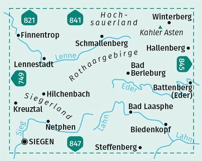 Kompass Wanderkarte Sauerland Sud Hochsauerland Rothaargebirge