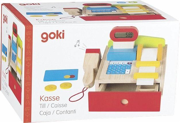 Goki 51575 Holz Kaufmannsladenkasse mit Taschenrechner