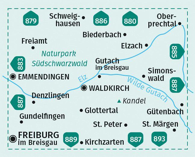 Kompass Wanderkarte Waldkirch Kandel St Peter St Margen